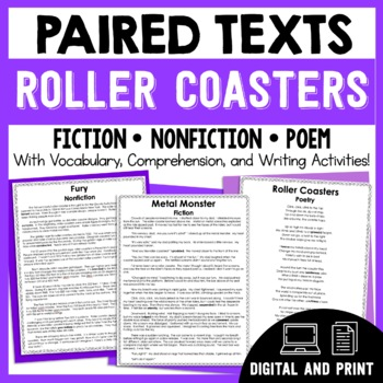 Paired Texts Roller Coasters - Passages, Vocabulary, & Com