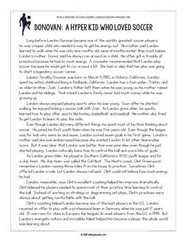 Paired Texts: Soccer Legends Tim Howard and Landon Donovan: Nonfiction Passages