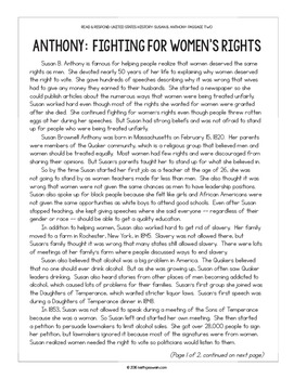 Paired Texts: US History: Susan B. Anthony and Eleanor Roosevelt