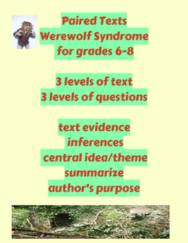 Paired Texts:  Werewolf Syndrome
