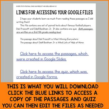 Paired Texts for Google Classroom: Dak Prescott & Odell Beckham Jr. (Grades 3-4)