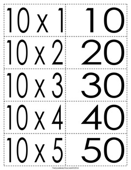 Pairing Cards: 10's Multiplication Facts