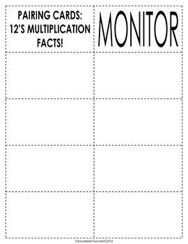 Pairing Cards: 12's Multiplication Facts