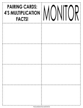 Pairing Cards: 4's Multiplication Facts