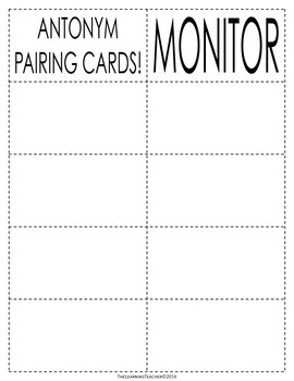 Pairing Cards: Antonyms