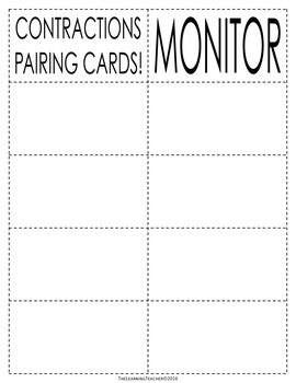 Pairing Cards: Contractions
