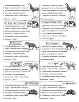 Spanish Task Cards for Regular Present Tense Verbs with South American Animals