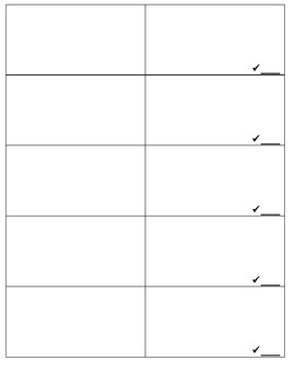 Pairs Check Template
