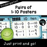 Pairs of 1-10 Posters (Kindergarten K.OA.3)