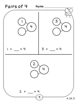 Pairs of 1-10 Review Pages (Kindergarten K.OA.3)