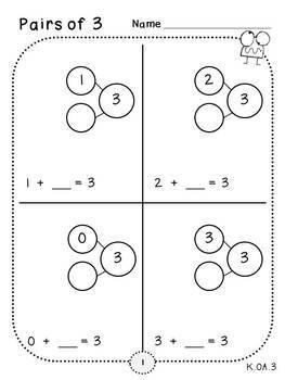 Pairs of 3 (Kindergarten-K.OA.3)