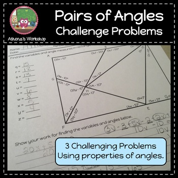 Pairs of Angles Challenge Problems