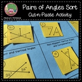 Pairs of Angles Sort Cut-n-Paste Activity