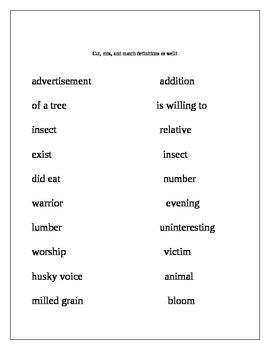 Pairs of Homonyms