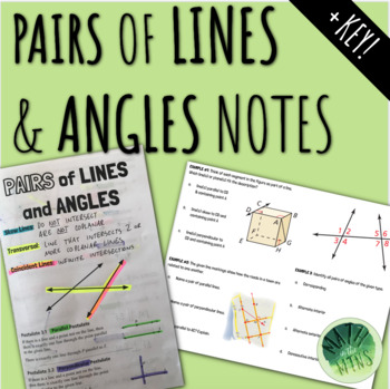 Pairs of Lines and Angles Notes