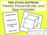 Pairs of Lines and Planes Foldable - Parallel, Perpendicul