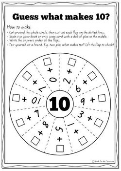Pairs to 10 Worksheets for Addition Facts That Make 10 | TpT