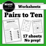 Pairs to 10 - Worksheets (x17) for addition facts that make 10
