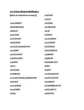 Paises hispanohablantes (Spanish-speaking countries) word scramble