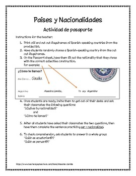 Nacionalidad Worksheets Teaching Resources Teachers Pay Teachers