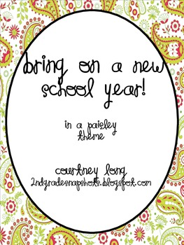 Paisley Beginning of the Year Packet