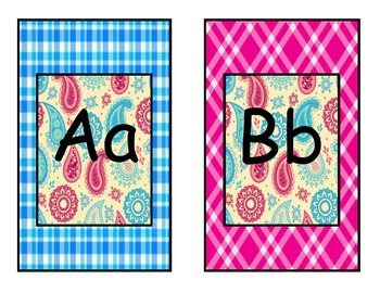 Paisley Blue and Pink Plaid Alphabet
