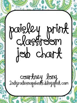 EDITABLE Paisley Classroom Job Chart