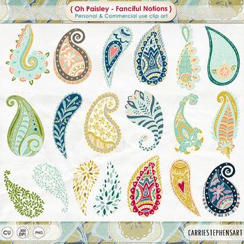 Colorful Paisley Clip Art, Bohemian Design, Hand-Drawn Dec