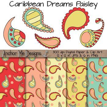 Paisley Clip Art (Vera Bradley) & Digital Paper Freebie- Caribbean Colors