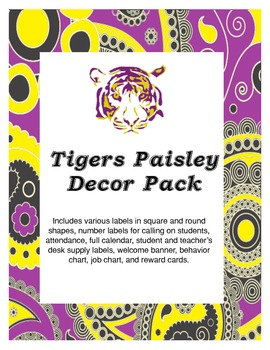 Paisley LSU Tigers Classroom Decor Pack