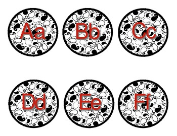 Paisley N Red Word Wall Labels
