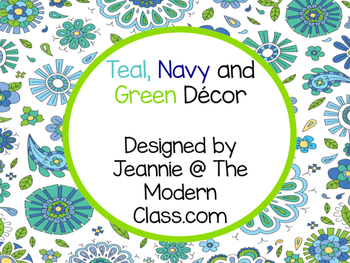 Paisley Navy, teal and Green Classroom Decor