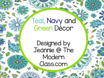 Paisley Navy, teal and Green Classroom Decor