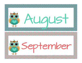 Owl Themed Calendar Numbers
