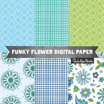 Digital Paper - Funky Flowers