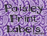 Paisley Print Labels