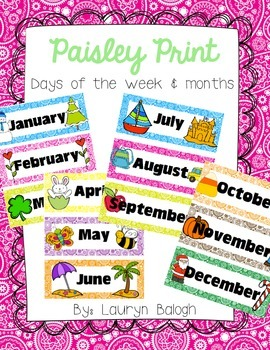 Paisley Print Months & Days of the Week Cards