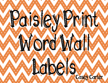 Paisley Print Word Wall Labels