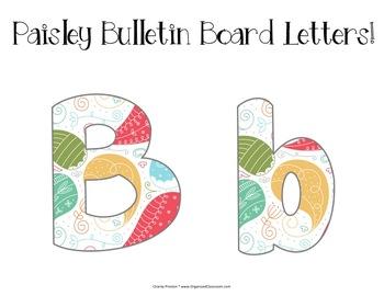 Paisley Theme Bulletin Board Letters