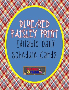 Paisley Themed Editable Schedule Cards
