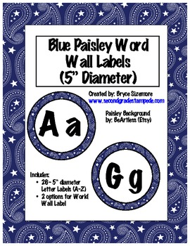 Paisley Word Wall Letters and Labels
