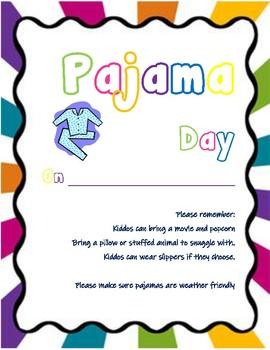 Pajama Day Flyer