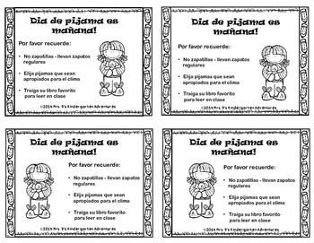 Pajama Day Notices For All Occasions  in English & Spanish