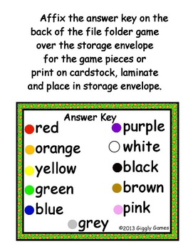 Pajama Party Colors File Folder Game