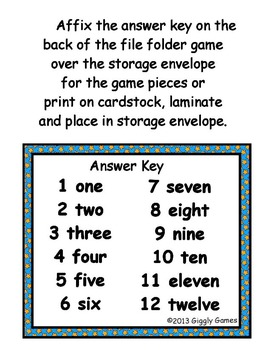 Pajama Party Number Words File Folder Games