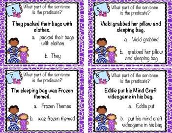 Pajama Party Predicates Task Cards
