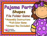 Pajama Party Shapes File Folder Game