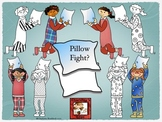 Pajama Party with a Pillow Fight Clipart set