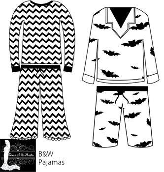 Pajamas B&W Clipart