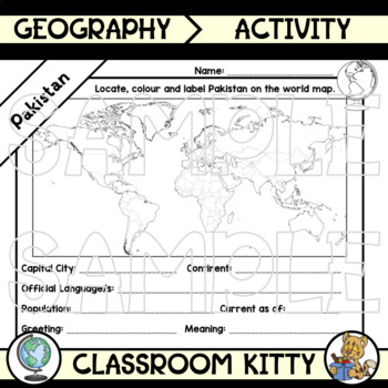 Pakistan Fact File Worksheet
